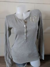 PINK by Victoria's Secert Gray Silver Metallic Button Henley Top Size M