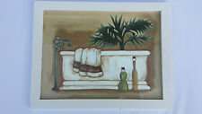 BNWT Hand Painted Glass Picture / Art / Sign Framed Bath Setting Designer Chic