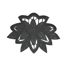 ID 5110 Black Flower Design Large Patch Craft Lace Embroidered Iron On Applique