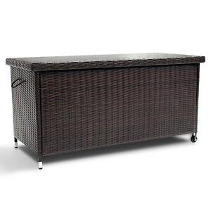 Poly Rattan Kissenbox 121x56x60cm Gartenbox Aufbewahrungsbox Gartentruhe Braun N