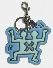 COACH x Keith Haring 'Double Human' Leather Key Ring / Chain Bag Charm Blue NWT!