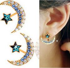 Yellow Gold Filled Women Moon Star Shape Crystal Rhinestone Stud Earrings