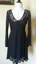 Hot Topic Dress Black Bell sleeve Gothic Lace Semi sheer Sz MD Junior New