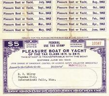 1942/43, #5.00 Special Tax Stamp, Pleasure Boat or Yacht, See Remark (33655)
