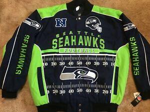 NWT Seattle Seahawks Jacket 2XL new bomber varsity letterman g-iii neon jersey