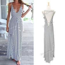 Full Length Chiffon Striped Regular Size Dresses for Women