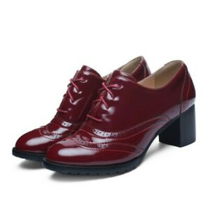Women Block 5.5cm Heel Brogue Office Work OL Casual Lace Ups Shoes Pumps 34/43 D