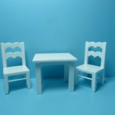 Dollhouse Miniature Children's Play Table with Chairs in White ~ EMWF500