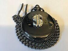 Simbolo del dollaro Peltro TG255 su un orologio da taschino nero quarzo Fob