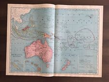 """Large 21"""" X 28"""" COLOR Map of Oceania & Malaysia  (1905)"""