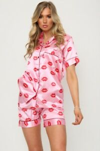 Womens Lips Print SATIN Short Sleeve Top Pyjamas Set Button Up Ladies Shorts PJ