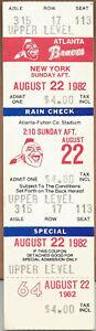 Mookie Wilson 250th Hit 8/22/82 Mets at Braves Full Ticket Dale Murphy HR #122
