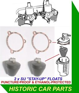 """MGB ROADSTER & MGBGT 1962-72 - """"STAY-UP"""" FLOATS for TWIN 1½"""" HS4 SU Carburettors"""