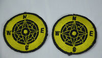 2x COMPASS NORTH SOUTH EAST  Embroidered Iron Sew On Cloth Patch Badge  APPLIQUE