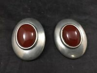 Ben Amun Art Deco Silver & Red Stone Clip On Oval Earrings