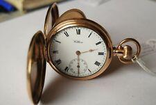 Lovely Antique Gold P. Gents Waltham Hunter Traveler Pocket Watch.1908. Working.
