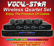 VOCAL-STAR QUARTET SET CDG DVD KARAOKE MACHINE 4 VHF WIRELESS MICS & 150 SONGS