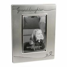 Silver Plated Satin Finish Photo Frame with Hearts - Granddaughter