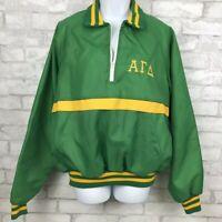 Vintage 1970 Alpha Gamma Delta Green Yellow Jacket Windbreaker Greek Large