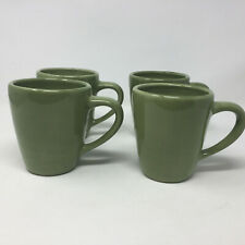 Set of 4 Pottery Barn Sausalito Mugs Cups Light Green Hand Painted Discontinued
