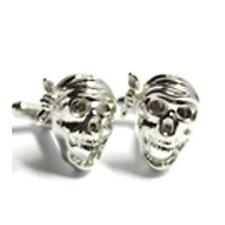 Silver Pirate Skulls Skeleton Cuflinks With Gift Pouch Pirate Skull Present New