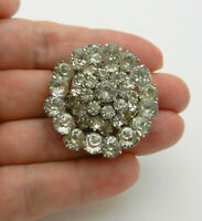 Vintage PRONG SET White RHINESTONE Tiered Silver Tone BROOCH PIN