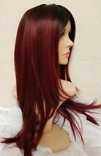 Human hair wig red