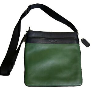 COACH MEN'S LEATHER BOWERY MESSENGER SHOULDER BAG CROSSBODY F71842 GREEN/NAVY