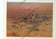 """CHARLES RUSSELL-STOLEN HORSES-INDIANS-4""""X6"""" POSTCARD-(INDIAN4X6-5*)1987"""