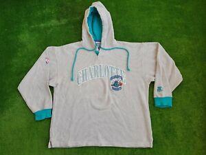 Vintage 90's Charlotte Hornets Hoodie Starter Scripted NBA Sweatshirt Size L
