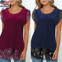 Women Summer Floral Irregular Blouse Tops Ladies Short Sleeve Splice T-Shirt Tee