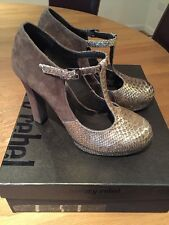 LADIES LUXURY REBEL ODETTE DK TAUPE DIAMANTIMO SHOE - SIZE 37/4- WORN ONCE