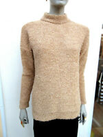 M&S - Womens Camel Soft Boucle Knit Long Sleeved Turtle Neck Jumper - size M