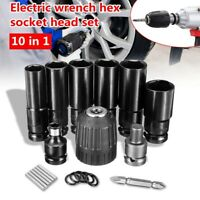 10 in 1 Electric Wrench Hex Socket Head Set Kit Drill Chuck Drive Adapter SET