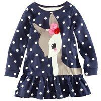 UK Seller Cute Deer Polka Dot Girls Top Quality Tunic Dress 1 2 3 4 5 6 7 years