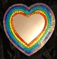 RAINBOW MOSAIC MIRROR HEART SHAPED MULTICOLOURED PRIDE LOVE FAIR TRADE 29 cms
