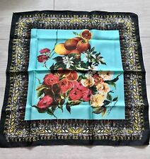 DOLCE & GABBANA BLACK FLORAL PRINT 100% SILK  SCARF WRAP GIFT FOR HER