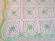 """Vintage AFGHAN - GRANNY SQUARE White Green trim Baby LapThrow Blanket 36 X 48"""""""