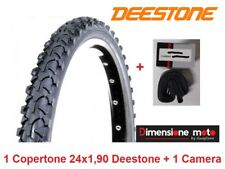 "1 Copertone Nero Tassellato 24x1,90 Deestone + 1 Camera per Bici 24"" City Bike"