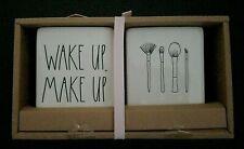 "NWT Rae Dunn Vanity Set Makeup Brush Holder ""Wake Up Make Up"" 2 Pc Gift Set NEW"