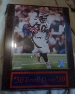 Sealed Vintage #30 Terrell Davis Plaque officially NFL License Denver Bronco's