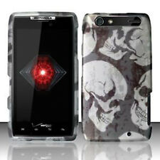 For Motorola DROID RAZR HARD Protector Case Snap On Phone Cover Grey Skull