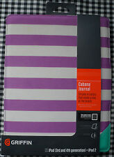 New Griffin Cabana Journal iPad Case, for iPad 2/3/4, Purple Stripe, Green Edges