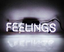 """Feelings White Neon Sign Beer Bar Gift 14""""x5"""" Light Lamp Bedroom"""