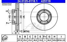 ATE Juego de 2 discos freno 257mm ventilado para VW TOYOTA 24.0125-0118.1