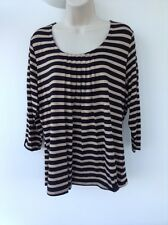M&S Black Striped Pleat Front 3/4 Sleeve Plus Size UK 16 AS65