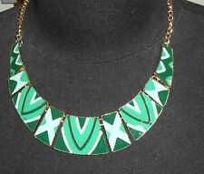 Necklace & Earring-gold tone dark green, mid green/blue enamel detail