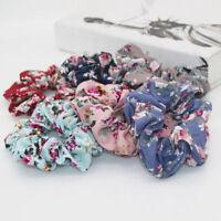 Vintage Floral Hair Scrunchies Bun Ring Elastic Fashion Sports Dance Scrunchie