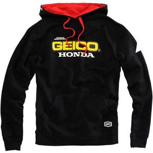 NEW 100% TEAM GEICO HONDA MENS BASE HOODIE HOODY PULLOVER BLACK MOTOCROSS MX