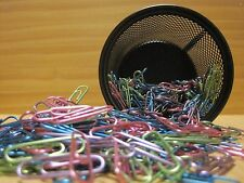 Metal Paper Clips & Black Metal Mesh Case, Metallic 4 Colors, 500 Clips per Tub